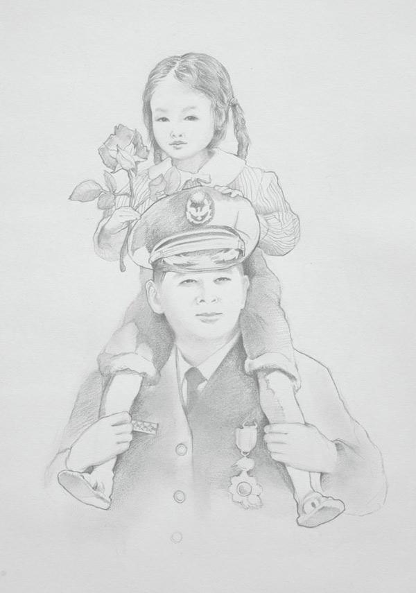 父母背影唯美手繪