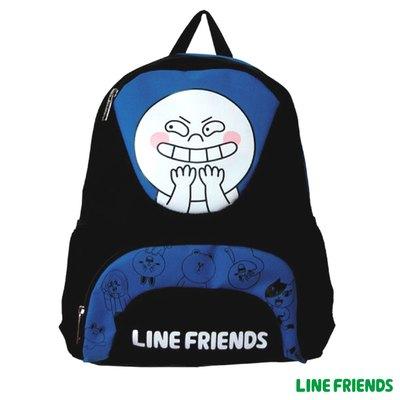 LINE FRIENDS 休閒後背包 -饅頭人(黑底.藍)