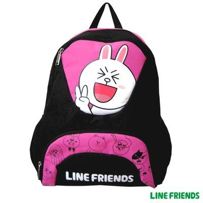 LINE FRIENDS 休閒後背包 -兔兔(黑底.粉紅)