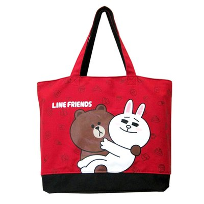 LINE FRIENDS 托特包-熊大兔兔(紅)