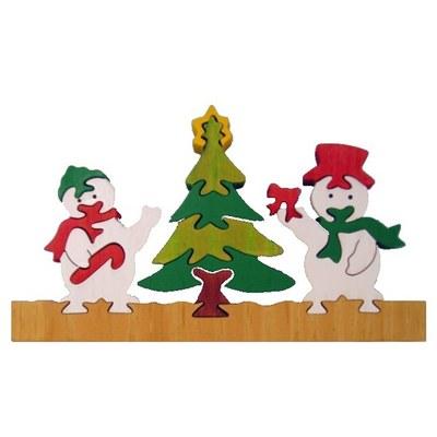 聖誕彩色立體木質拼圖-雪人聖誕樹